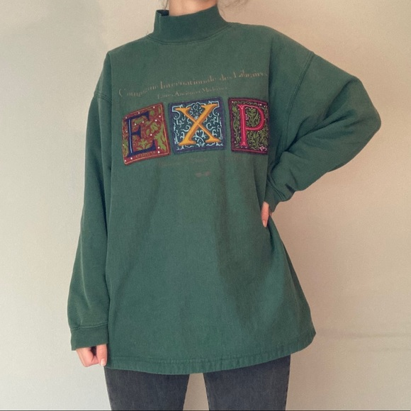 French Express Long Sleeve Green Mock Neck